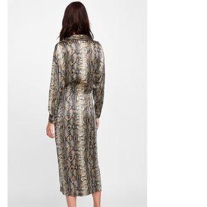 2c94a507 Zara Dresses | Snakeskin Print Shirt Midi Wrap Dress Brown | Poshmark